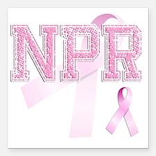 "NPR initials, Pink Ribbo Square Car Magnet 3"" x 3"""