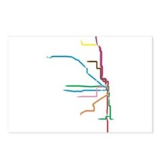 Painted Chicago El Map Postcards (Package of 8)