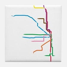 Painted Chicago El Map Tile Coaster
