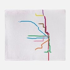 Painted Chicago El Map Throw Blanket