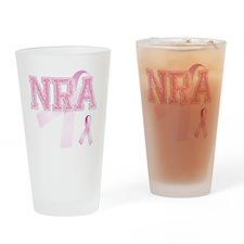 NRA initials, Pink Ribbon, Drinking Glass
