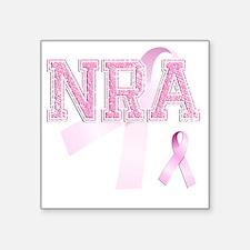 "NRA initials, Pink Ribbon, Square Sticker 3"" x 3"""