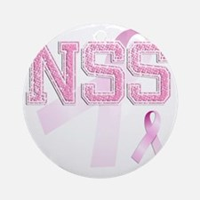 NSS initials, Pink Ribbon, Round Ornament