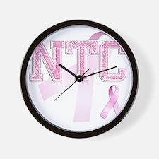 NTC initials, Pink Ribbon, Wall Clock