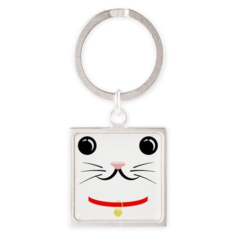 cat face Square Keychain