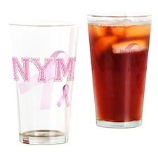 NYM initials, Pink Ribbon, Drinking Glass