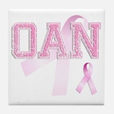 OAN initials, Pink Ribbon, Tile Coaster