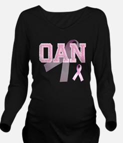 OAN initials, Pink R Long Sleeve Maternity T-Shirt