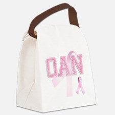 OAN initials, Pink Ribbon, Canvas Lunch Bag