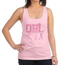 OBL initials, Pink Ribbon, Racerback Tank Top