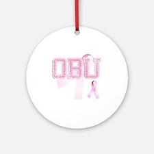 OBU initials, Pink Ribbon, Round Ornament