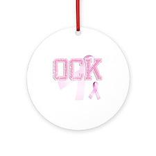 OCK initials, Pink Ribbon, Round Ornament