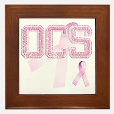 OCS initials, Pink Ribbon, Framed Tile