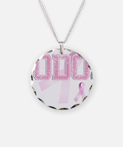 ODO initials, Pink Ribbon, Necklace