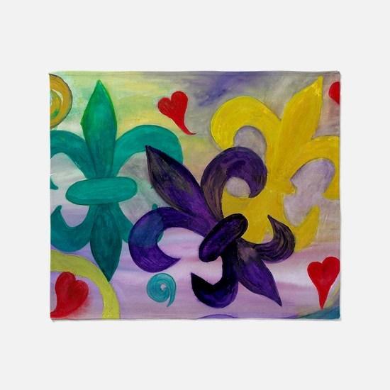 Mardi Gras Fleur de lis Throw Blanket