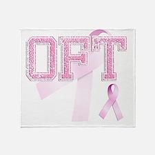 OFT initials, Pink Ribbon, Throw Blanket