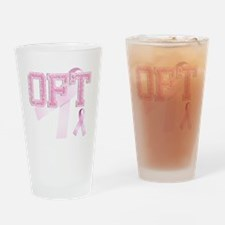 OFT initials, Pink Ribbon, Drinking Glass