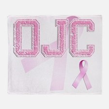 OJC initials, Pink Ribbon, Throw Blanket