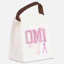 OMI initials, Pink Ribbon, Canvas Lunch Bag