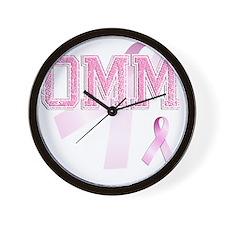 OMM initials, Pink Ribbon, Wall Clock