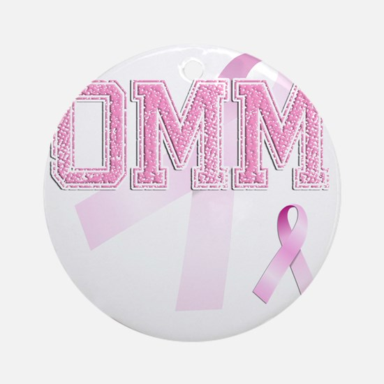 OMM initials, Pink Ribbon, Round Ornament