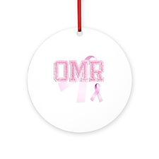 OMR initials, Pink Ribbon, Round Ornament