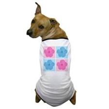 Pink & Blue Hibiscus Flowers Dog T-Shirt