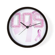 OOS initials, Pink Ribbon, Wall Clock