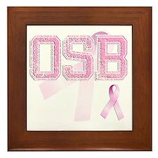 OSB initials, Pink Ribbon, Framed Tile
