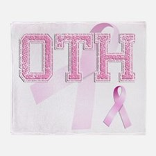 OTH initials, Pink Ribbon, Throw Blanket