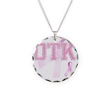 OTK initials, Pink Ribbon, Necklace Circle Charm