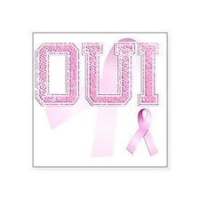 "OUI initials, Pink Ribbon, Square Sticker 3"" x 3"""