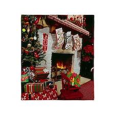 Traditinal Christmas Fireplace Throw Blanket