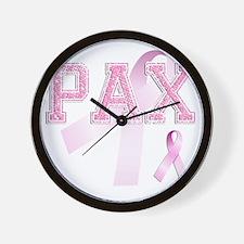 PAX initials, Pink Ribbon, Wall Clock