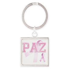 PAZ initials, Pink Ribbon, Square Keychain