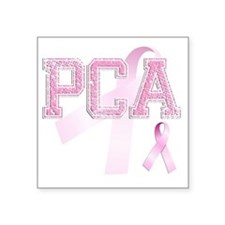 "PCA initials, Pink Ribbon, Square Sticker 3"" x 3"""