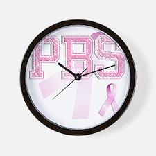 PBS initials, Pink Ribbon, Wall Clock