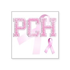 "PCH initials, Pink Ribbon, Square Sticker 3"" x 3"""