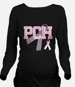 PCH initials, Pink R Long Sleeve Maternity T-Shirt