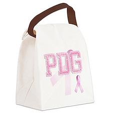 PDG initials, Pink Ribbon, Canvas Lunch Bag
