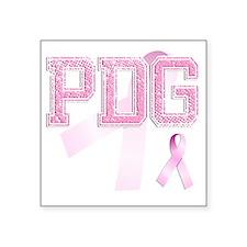 """PDG initials, Pink Ribbon, Square Sticker 3"""" x 3"""""""