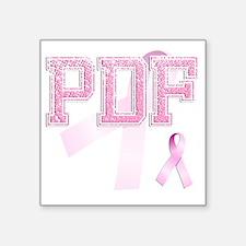 """PDF initials, Pink Ribbon, Square Sticker 3"""" x 3"""""""