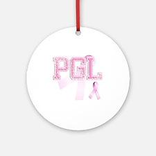 PGL initials, Pink Ribbon, Round Ornament
