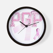 PGP initials, Pink Ribbon, Wall Clock