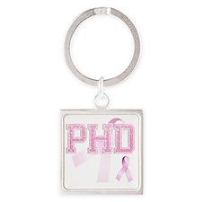 PHD initials, Pink Ribbon, Square Keychain