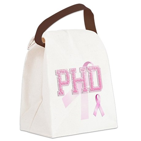 PHD initials, Pink Ribbon, Canvas Lunch Bag