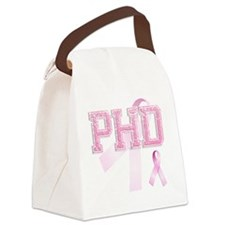 PHD initials, Pink Ribbon, Canvas Lunch Bag