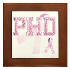PHD initials, Pink Ribbon, Framed Tile