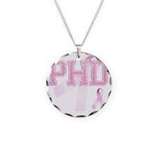 PHD initials, Pink Ribbon, Necklace