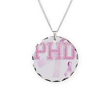 PHD initials, Pink Ribbon, Necklace Circle Charm